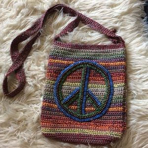 BOGO⚡️Rainbow knit hippie the sak crossbody purse